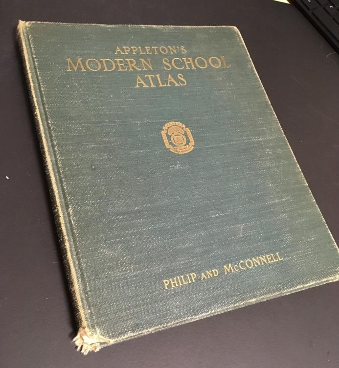 Beautiful Old 1928, Appleton's Modern School Atlas Philip & McConnell Color Maps