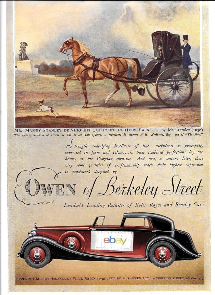 ROLLS ROYCE PHANTOM 111 SPORTS SEDANCA DE VILLE OWENS OF BERKELEY ST 1937 AD