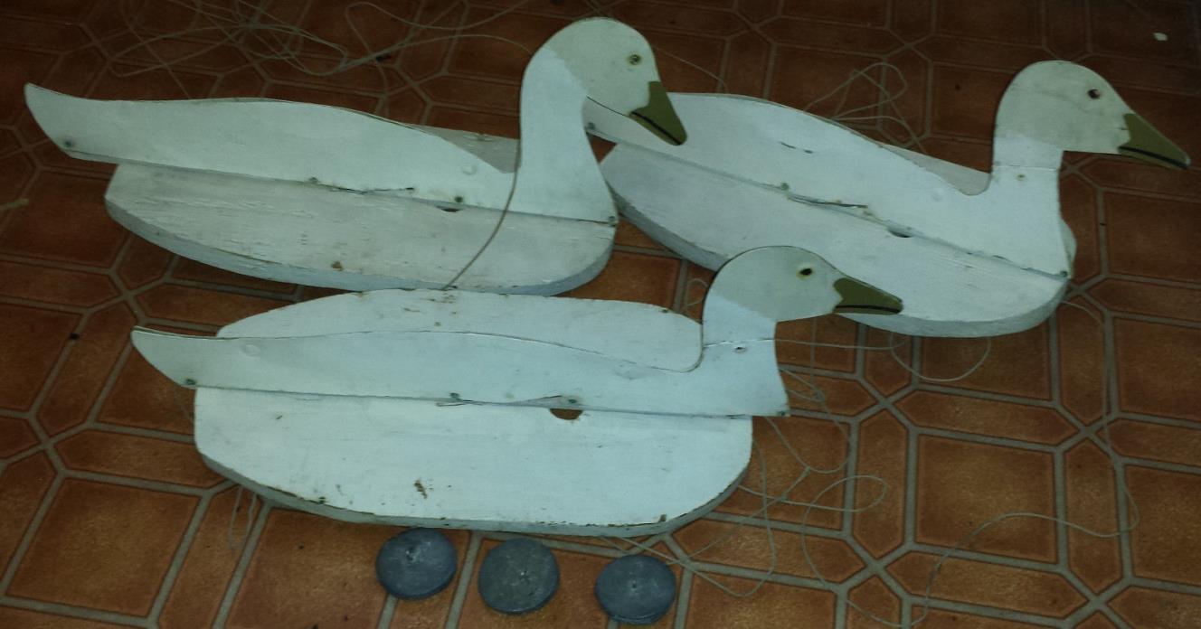 3 Vintage Floating Goose Duck Decoys Folk Art