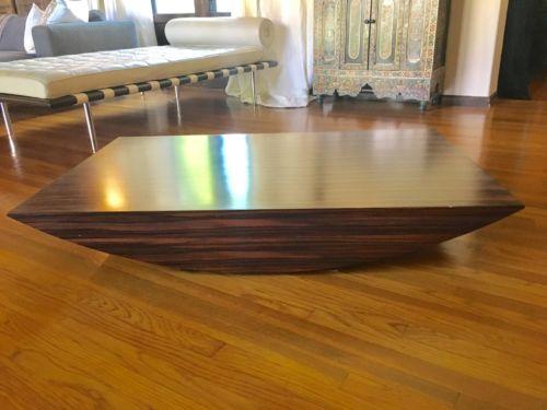 Modern Low-profile Zebra Wood Coffee Table