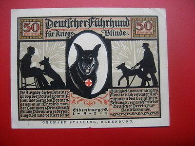 German Notgeld 1921 50 pfennig Oldenburg,Dog Guide