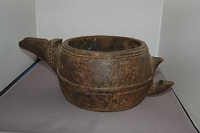 Primitive Hand Carved Wood Pitcher