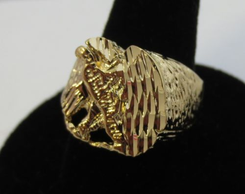 SIZE 11 MENS 14KT GOLD EP EAGLE NUGGET RING