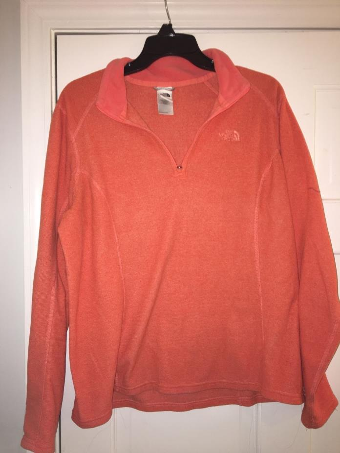 orange north face womens pullover large 1/4 zip