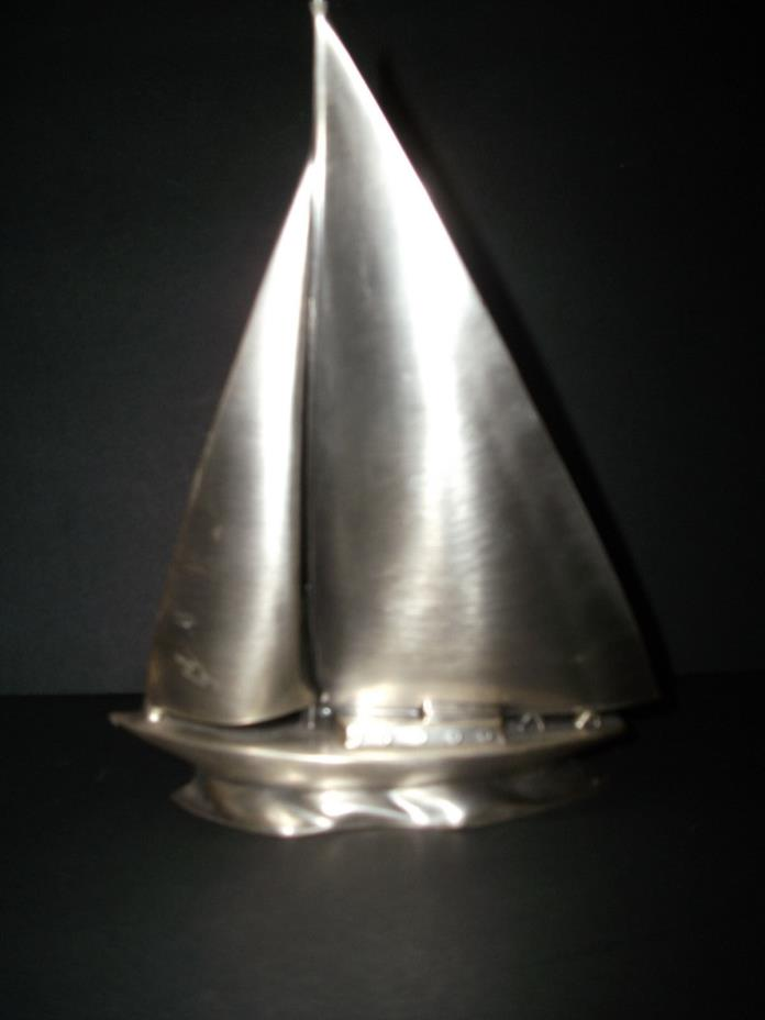 VINTAGE STAINLESS STEEL SAIL BOAT SCULPTURE
