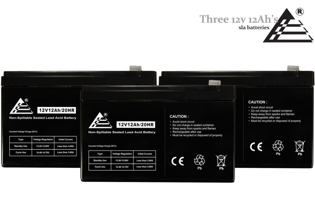 Set of 3 - 12 Volt 12 Amp SLA Universal Battery for Izip CR36V450 Electric Bike