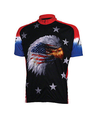 NEW World Jerseys American Eagle Men's Cycling Jersey Black MD