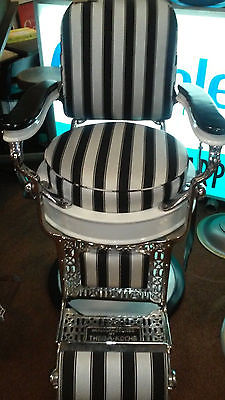 Custom Designed Black and White Stripe Barber Chair