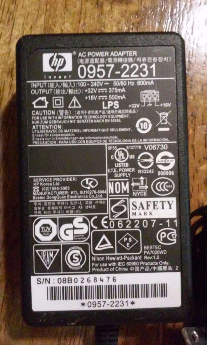 Original HP 0957-2231 Photosmart Printer C4280 4580 AC Power Supply Adapter Cord