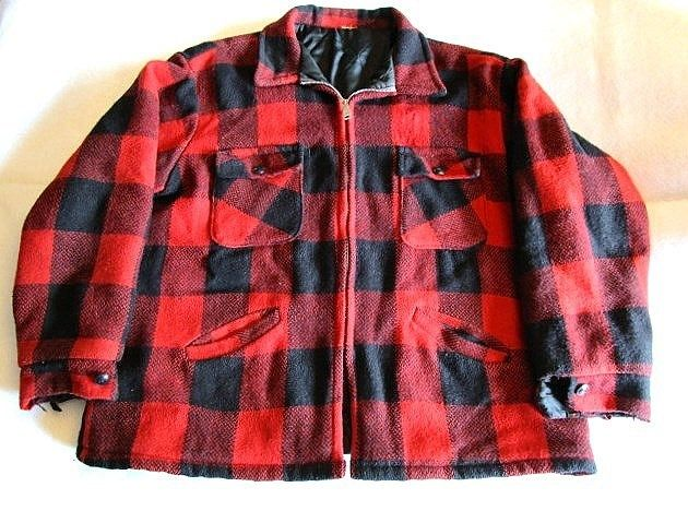 Buffalo Red Plaid Wool Blend Jacket-Heavy Weight--Hunting-Lumberjack-Large