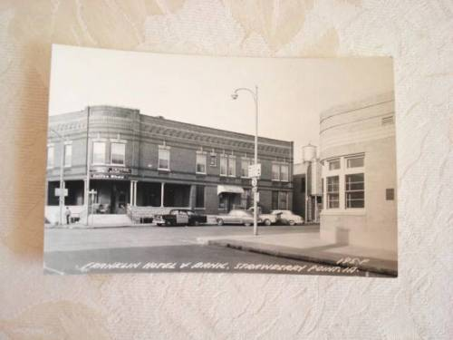 Vtg. Real Photo Post Card Strawberry Point, Iowa IA Hotel Bank 1950s Police Car