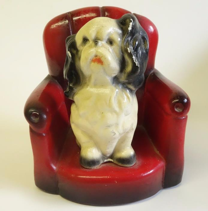 VTG ROBIA WARE FIGURINE BOOKEND SPANIEL DOG ON CHAIR ROMAN ART CO. ST. LOUIS MO.
