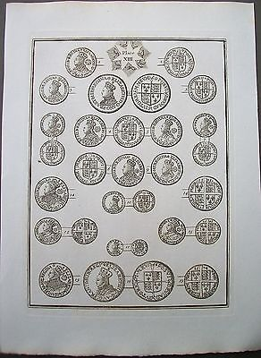 1819 British Coins Queen Elizabeth 1 Shilling Sixpence c1575 Copper Plate Print