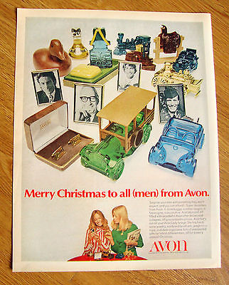 1971 Avon for Men Decanters Ad  Dune Buggy Station Wagon Fire Engine Locomotive