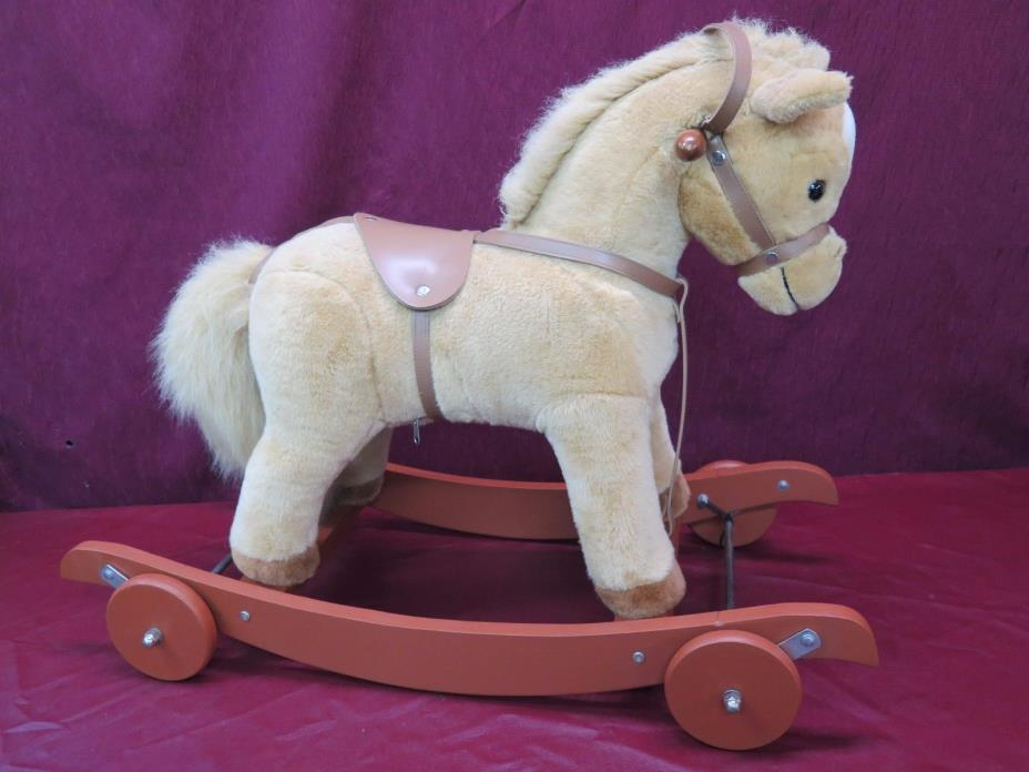 RARE Chrisha Rocking Rolling Plush Horse with Sounds Wheels Rock & Roll 24