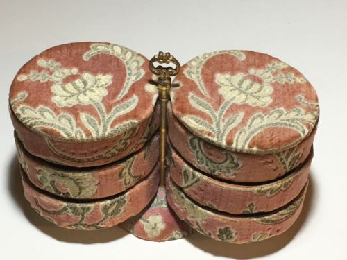 Rare Vintage Pink Tapestry 6 Compartment Pivot Swivel Trinket Jewelry Box Caddy