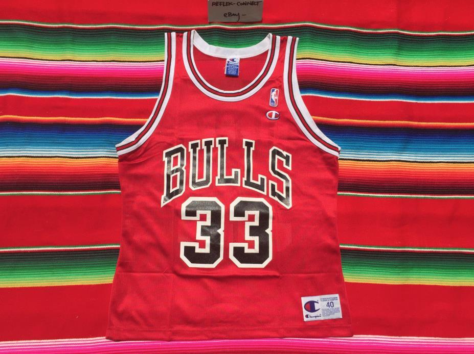 VTG Chicago BULLS Scottie Pippen #33 Champion red NBA basketball jersey M 90s