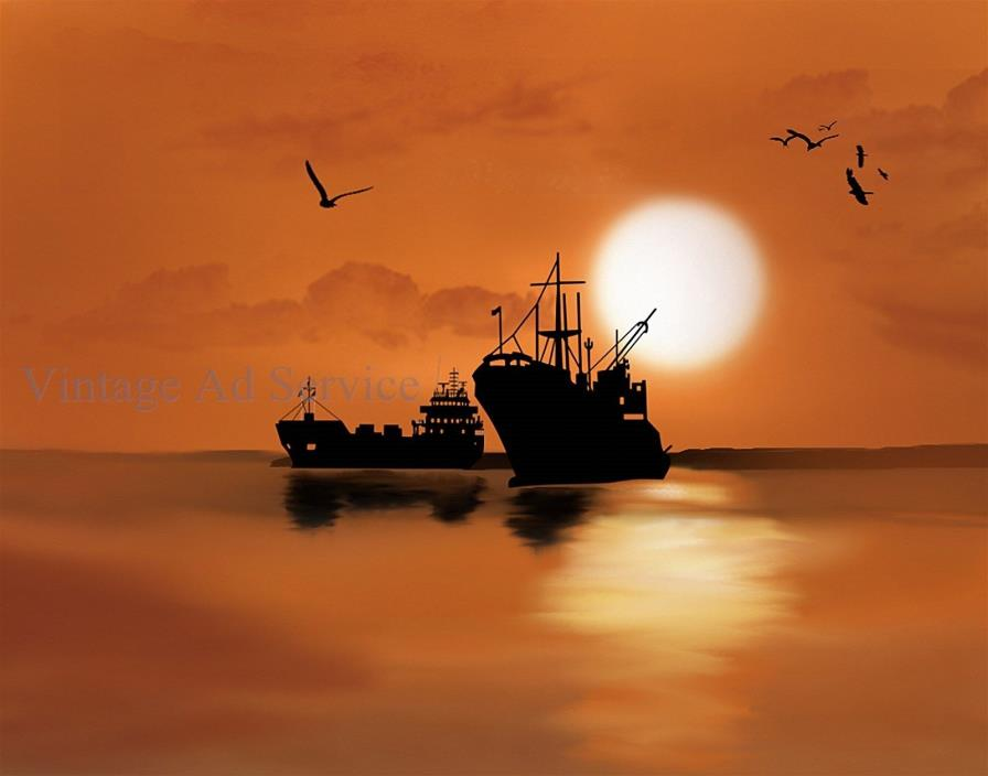 Ships Silhouetted against Sun. Digital Computer Art. Canvas Print. Size 11x14
