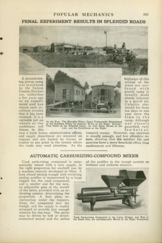 1921 Magazine Article Salem County New Jersey Mobile Prison Camp & Chain Gang