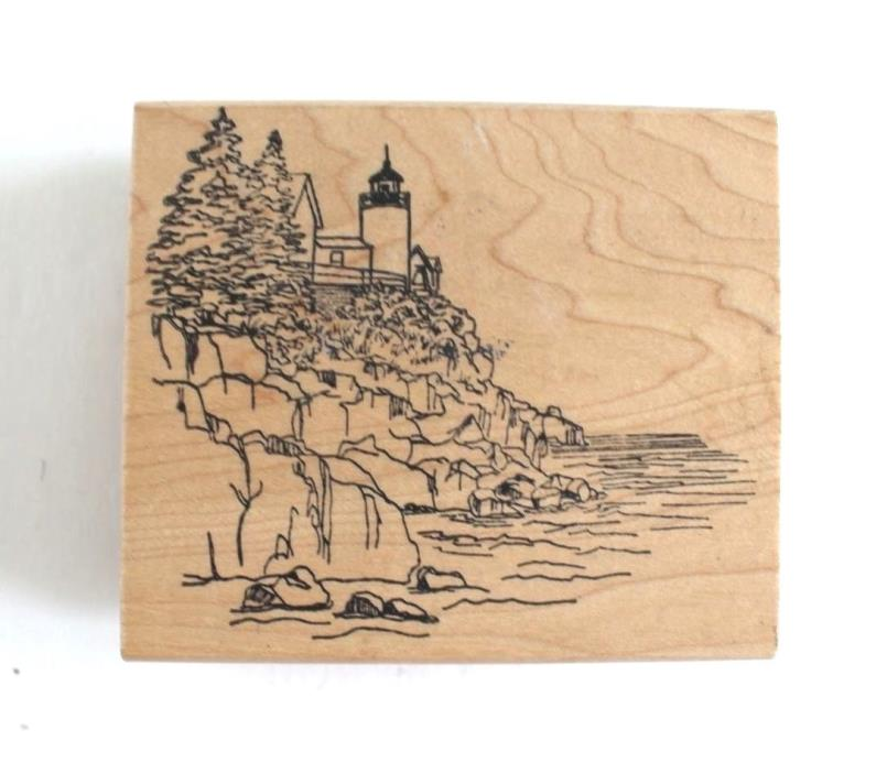 Rubber Stamp Bass Harbor Maine Lighthouse 2000 Repeat Impressions Wood