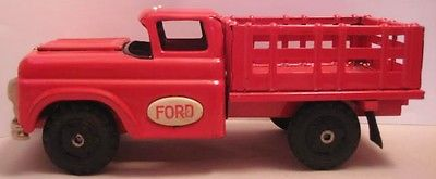Old Unusual Tin Marusan Ford Pick Up Stake Truck w/ Clicker Sound - 1950 Japan