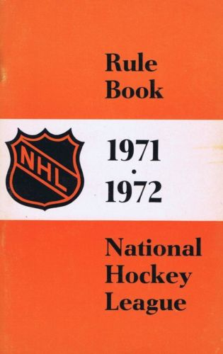 1971-72 1971 NHL Rule Book