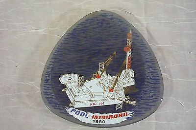 Vintage 1980 Pool-Intairdril Oil Rig 144 Heavy Smoked Glass Tray Trinket Dish