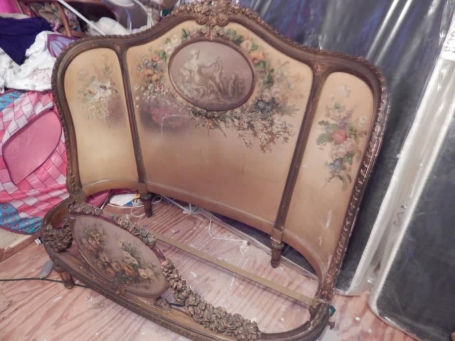 Antique Country French Louis XV Queen Bed Hand Carved painted Roses