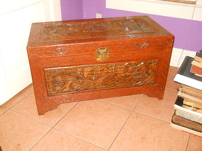ANTIQUE HAND CARVED CAMPHOR WOOD ASIAN CHEST TRUNK BOAT SCENERY 39