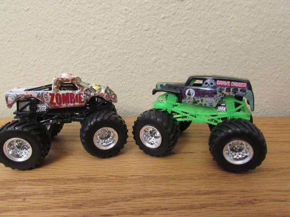 HOT WHEELS Zombie Truck+Grave Digger 1/64 Lot of 2