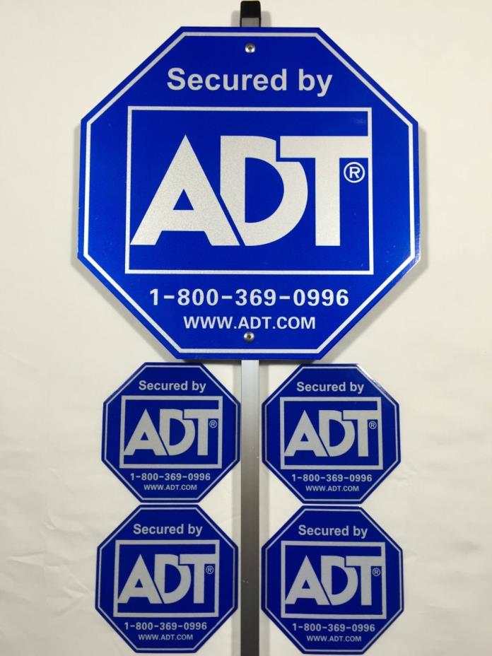 NEW ADT Security Alarm Yard Sign & 4 Stickers - Waterproof - Reflective