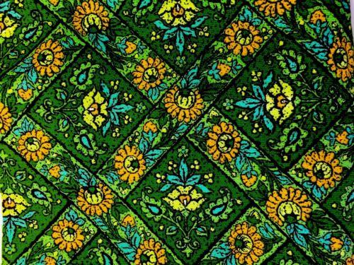 3 Yds Floral Fabric Green Turquoise Orange Vtg 60s DuPont Savalux Smithsonian