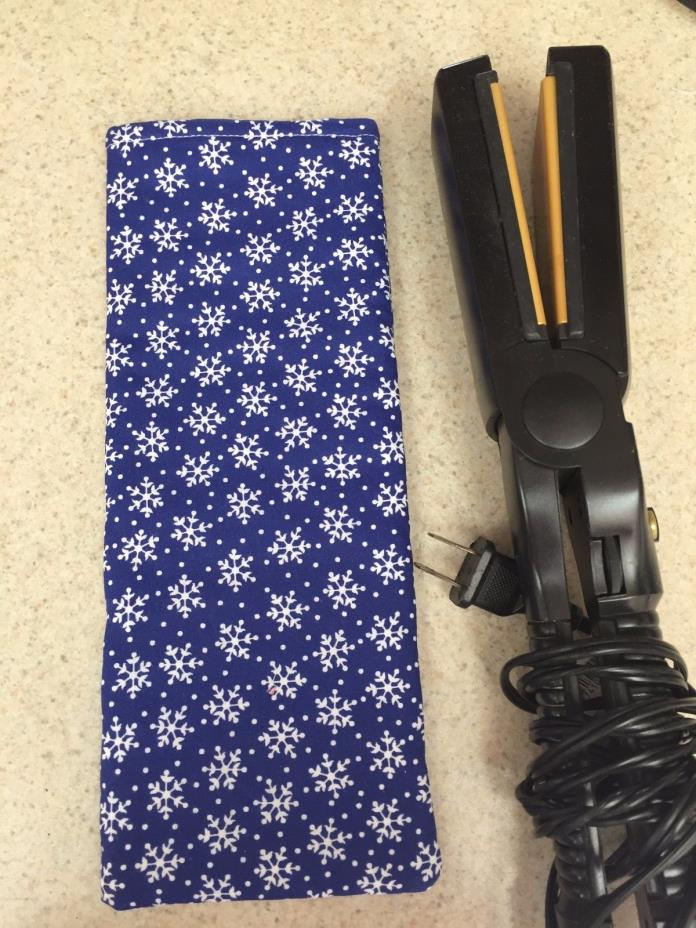 Flat Iron / Curling Iron Fabric Case/ Cover - White Snowflakes on Blue - NEW!