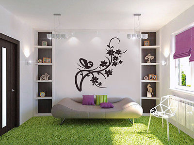 Wall Decal Vinyl Sticker Decor Ornament Branch Butterfly Flower Vinyl Tree Flora