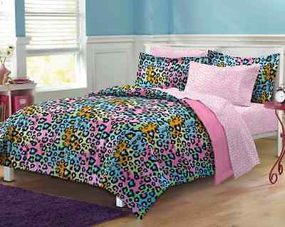 Neon Leopard Queen Or Full 6-piece Bed-in-a-Bag with Sheet Set Home Bedroom New