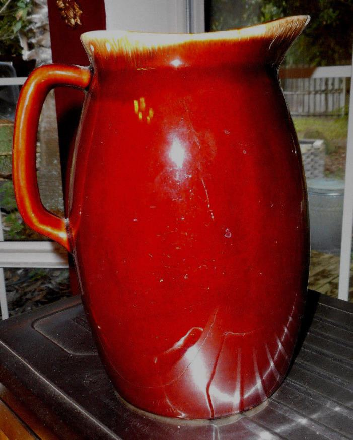 VINTAGE Large Hull Drip Pottery Pitcher