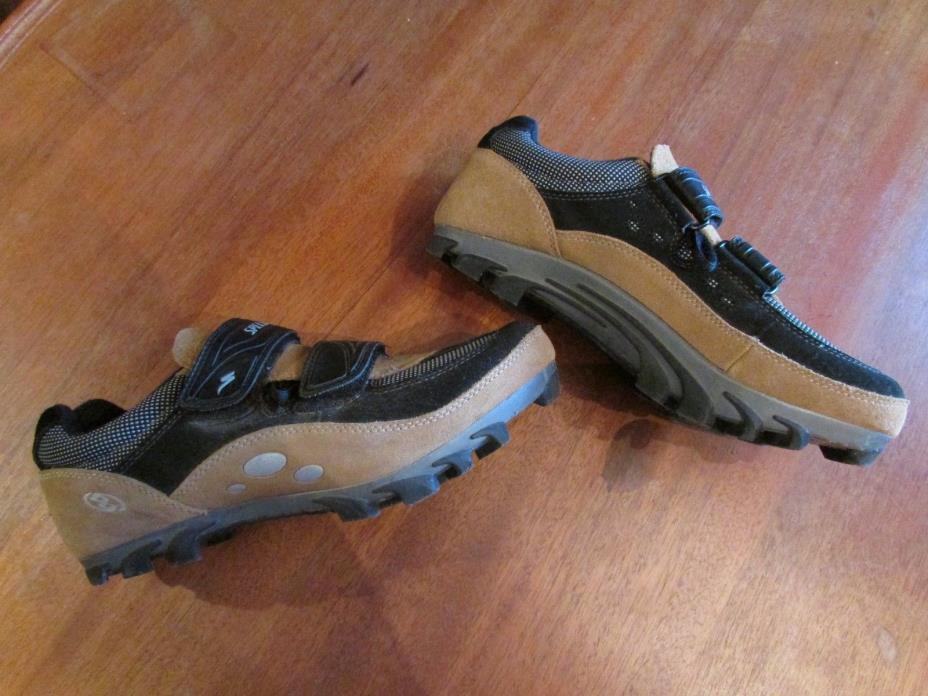 SPECIALIZED Cycling Shoes Black & Tan Velcro Straps 2 Bolt Cleat Women's 8.5