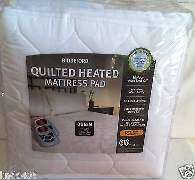 BIDDEFORD QUILTED ELECTRIC HEATED MATTRESS PAD QUEEN DUAL CONTROLLERS