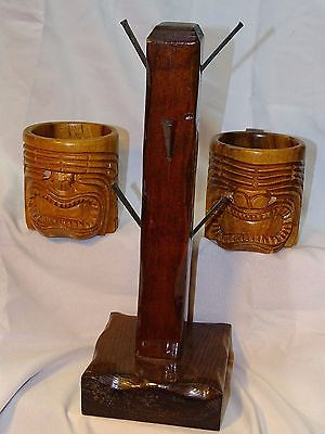 2 Large Hawaiian Tiki Face Wooden Carved Mugs With Handmade Wood & Nail Mug Rack