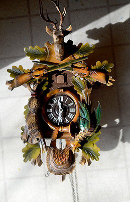 Vintage Deer Head Rabbit Hunters German Cuckoo Clock