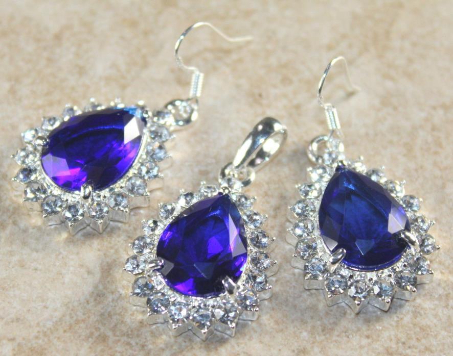 SILVER Elegant Purple Blue Amethyst & White Crystal Eyedrop Pendant & Earrings