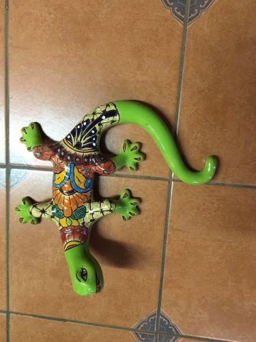 Talavera Lizard Gecko Ceramic Clay Pottery Hanging Wall decoration Folk art