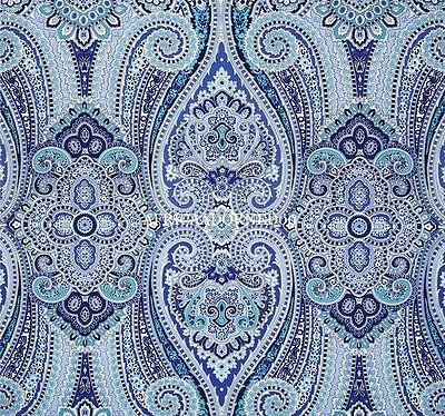 G0G EXOTIC&ETHNIC CHIC COTTON PAISLEY MULTIPURPOSE UPHOLSTERY FABRIC 5YARDS BLUE