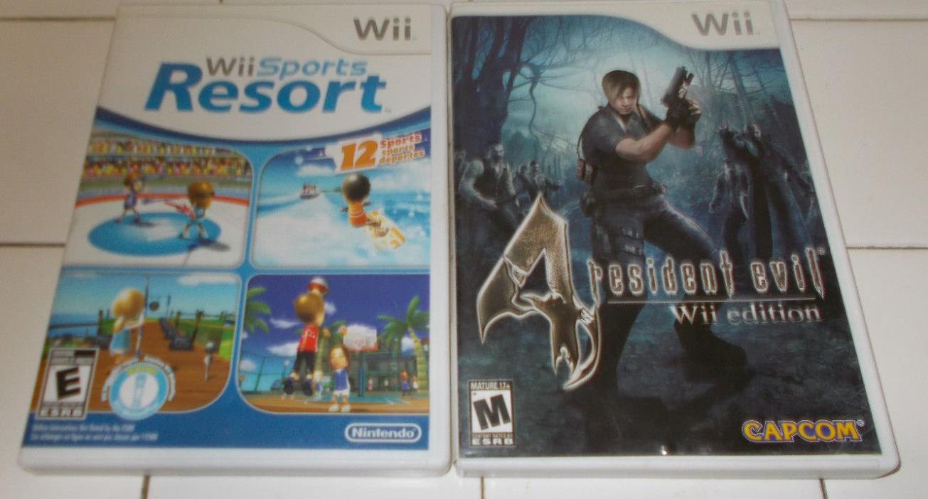 Lot of 2  Wii Sports Resort & Wii Resdident Evil Wii Edition Games CD