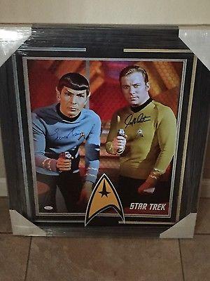 Leonard Nimoy & William Shatner signed huge photo Star Trek JSA