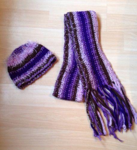 Winter Scarf & Hat! Purple Striped  GUC