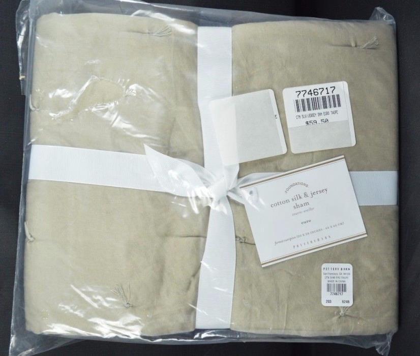 Pottery Barn Taupe Cotton Silk Jersey Sham Euro #4