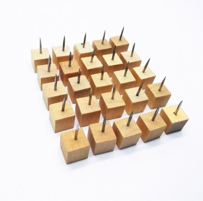 Square Wood Push Pins,Decorative Push Pins/Thumb Tacks for Cork Board (100)