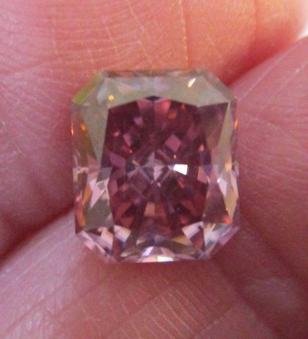 RASPBERRY KISSED 2.84 ct 9.00 x 7.70 mm RADIANT FANCY BLUSHING PINK MOISSANITE