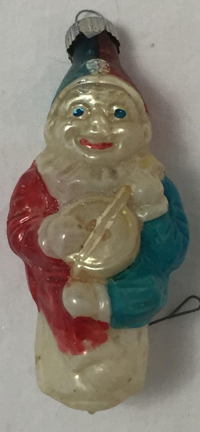 Vintage Glass Christmas Ornament Clown Playing Banjo
